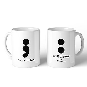 Nuestras historias nunca terminará lindo juego café tazas blancas de cerámica