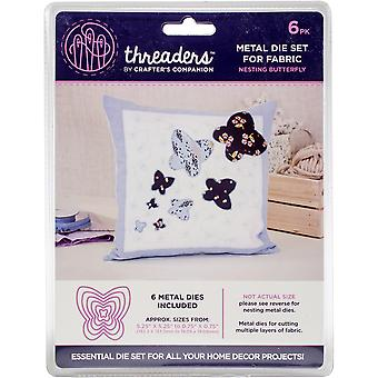 Crafter's Companion Threaders Metal Fabric Nesting Dies 6Pkg-Butterfly