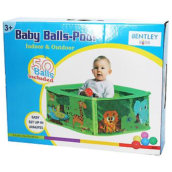 Charles Bentley Baby Safari Pop Up Play Pen Ball Pit Pool - Animal Design with 50 Balls - Lightweight