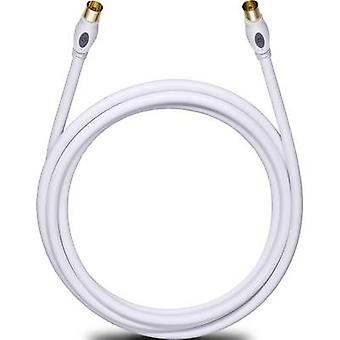 Antennas, SAT Cable [1x Belling-Lee/IEC plug 75Ω - 1x Belling-Lee/IEC socket 75Ω] 7.50 m 120 dB gold plated connectors White Oehlbach Transmission Plus