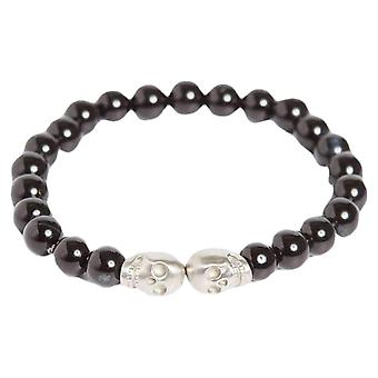 Simon Carter Onyx bead with Double Skull Bracelet - Black/Silver