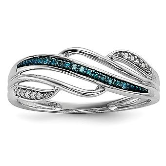 925 Sterling Silver Polished Prong set Open back Gift Boxed Rhodium-plated Blue and White Diamond Ring - Ring Size: 6 to