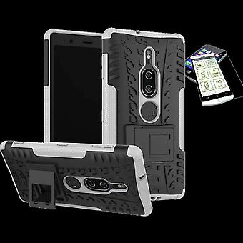 For Sony Xperia XZ2 premium hybrid case 2 piece white bag case + tempered glass new