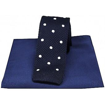 David Van Hagen Spotted Thin Knitted Silk Tie and Ribbed Handkerchief Set - Navy/White