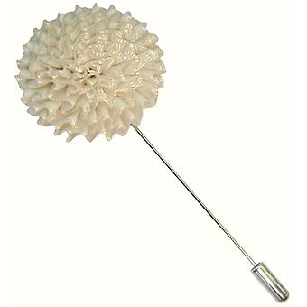 Bassin and Brown Chrysanthemum Flower Jacket Lapel Pin - White