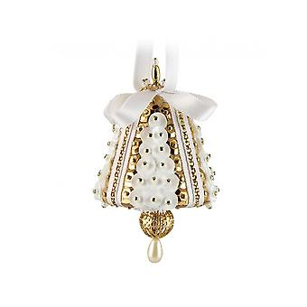 Pinflair Sequin & Pin Gold & White Mini Bell Christmas Ornaments - Makes 4