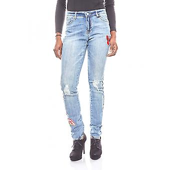 B.C.. best connections ladies boyfriend pants with Patches Blau