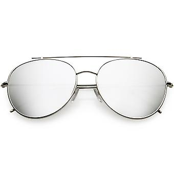 Oversize Metal Aviator Sunglasses Mirrored Round Lens 60mm