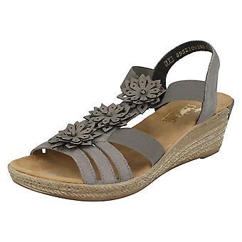 Ladies Rieker Flower Detail Wedge Sandals 62461