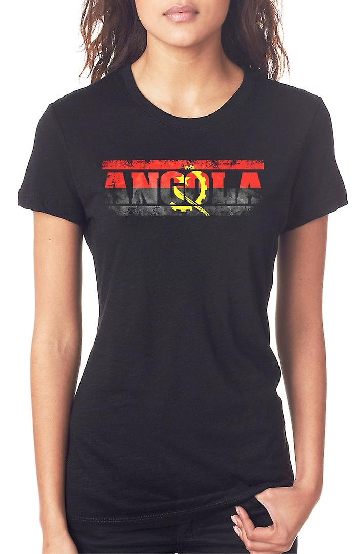 Angola Angolan Flag - Words Ladies T Shirt