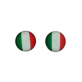 TOC Sterling Silver Round Italian Flag Stud Earrings 5mm