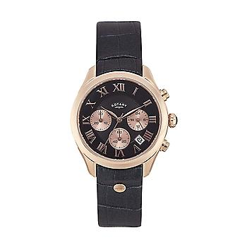 Project D London Ladies Rose Gold Black Dial Charcoal Leather Watch PDS008/C/10