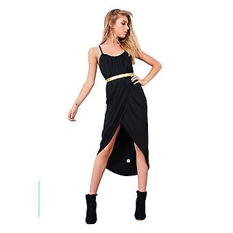 Lovemystyle sort Loose Fit Cami Wrap kjole med guld bælte