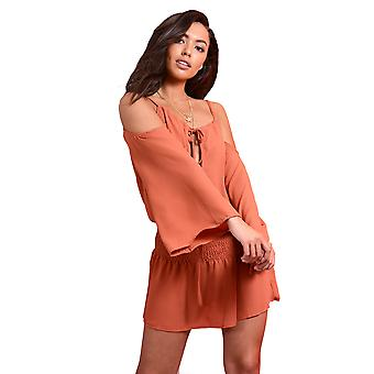 Lovemystyle Copper Halterneck Dress With Scrunched Waist