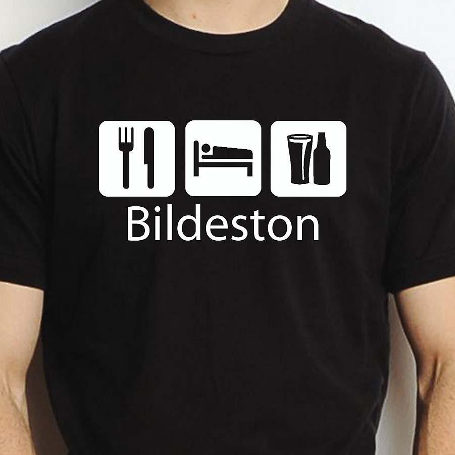 Eat Sleep Drink Bildeston Black Hand Printed T shirt Bildeston Town