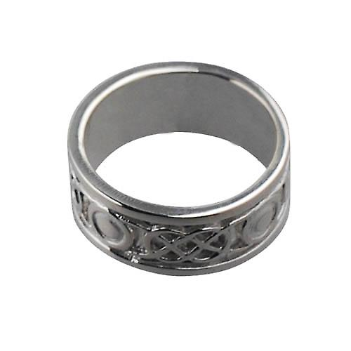9ct White Gold 8mm Celtic Wedding Ring Size O