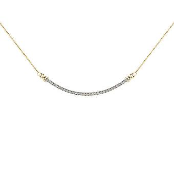 IGI Certified Solid 10k Yellow Gold 0.25Ct Natural Diamond Bar Necklace