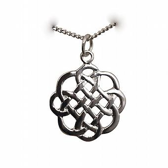 Conception de noeud celtique 20x21mm pendentif avec un pouces de trottoir 24 chaîne en argent