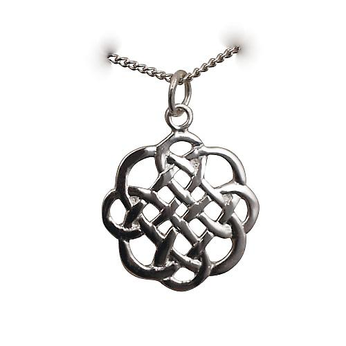 Silver 20x21mm Celtic knot design Pendant with a curb Chain 20 inches