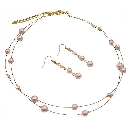Gold Plated Ivory Pearls Necklace & Earring Set For Bridesmaid