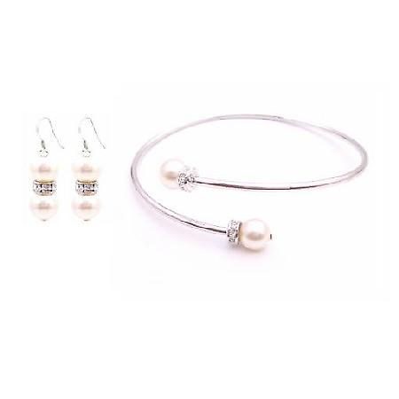 Wedding Ivory Dress Jewelry Matching Earrings Bangle Cuff Bracelet