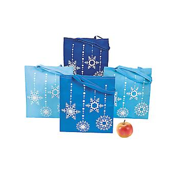 12 Giant Snowflake Print Fabric Tote Christmas Party Bags