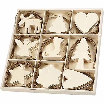 72 Assorted Wooden Ornaments for Christmas Crafts | Wood Shapes