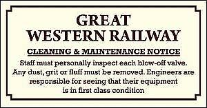 GWR Cleaning & Maintenance enamelled steel sign   (dp)