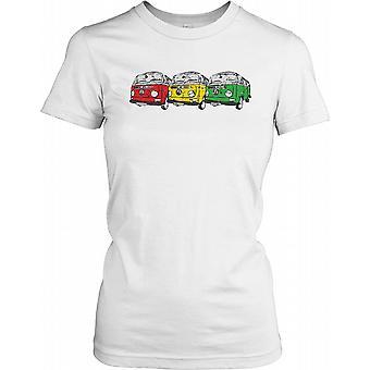 Camper Van - Volkswagen Multi Coloured Ladies T Shirt