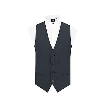 Dobell Mens Navy Waistcoat Slim Fit Windowpane Check
