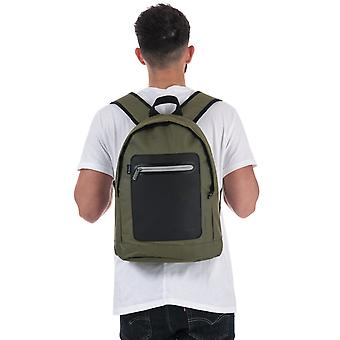 Ben Sherman Panel Dome Backpack In Green Black- One Main Zip Compartment-