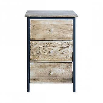 Rebecca Furniture nightstand drawer chest 3 Drawers wood Natural Urban Rustic Room Salon Bathroom