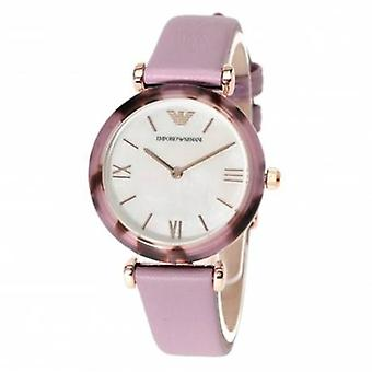 Emporio Armani Ar11003 Purple Leather Strap Ladies Watch