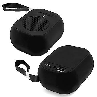 F4314 Micro-SD / USB Microphone Ultra-Compact FM Radio Bluetooth Speaker - Black