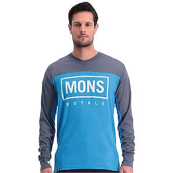 Mons Royale Charcoal-Downhill Blue Redwood Enduro VLS Long Sleeved MTB Jersey