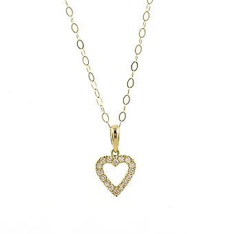 Eternity 9ct Gold Cubic Zirconia Small Heart Pendant And 16'' Trace Chain