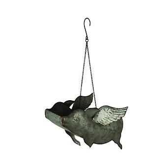 Galvanized Metal Flying Pig Hanging Planter