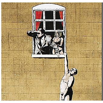 Banksy Lover Hanging From Window drinks mat / coaster   (2f)