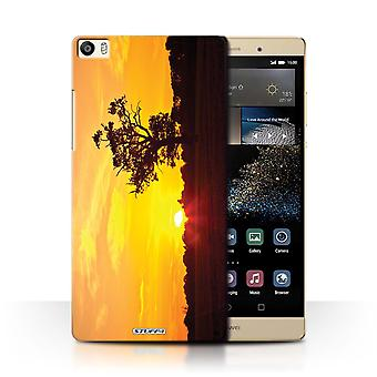 STUFF4 Case/Cover for Huawei P8 Max/Oak Tree Orange/Sunset Scenery