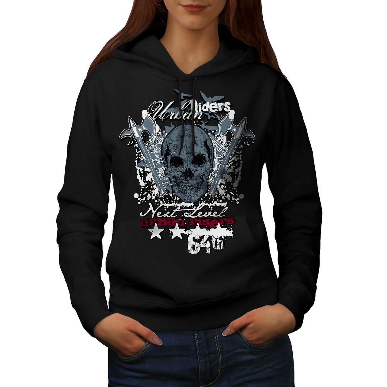 Urban Riders Skull Biker Women Black Hoodie | Wellcoda