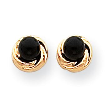14k Onyx With Gold Wreath Earrings - Measures 6x6mm