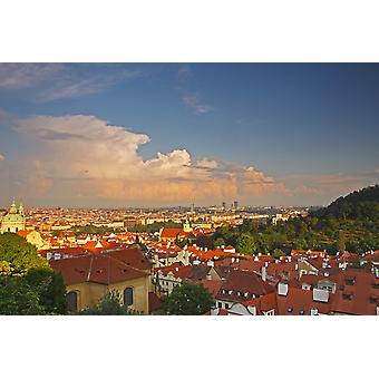 Uitzicht op Praag daken van Castle Hill Praag Tsjechië PosterPrint
