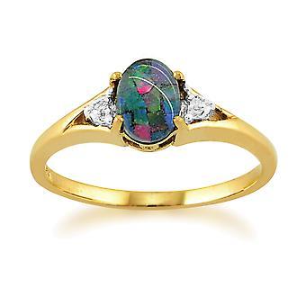 9ct Yellow Gold 0.62ct Triplet Opal & Diamond Ring