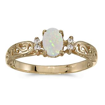 14k Yellow Gold Oval Opal And Diamond Filagree Ring