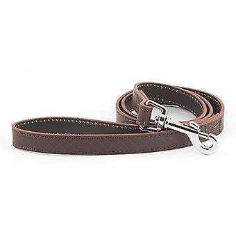 Heritage Diamond Leather Lead Brown 25mm X1m