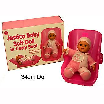 Pink Jessica Baby Soft Doll in Carry Seat/Rocking Carry Cot Kids Toy