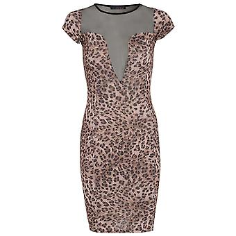 Leopard Print Bodycon Dress With Mesh Cut Outs