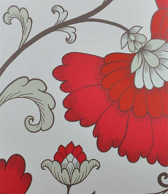 Red Grey Light Green Floral Design White Background Feature Wallpaper