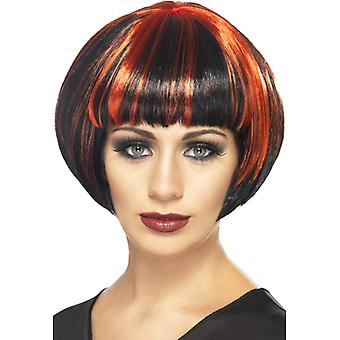 Quirky Bob wig black with red streaks