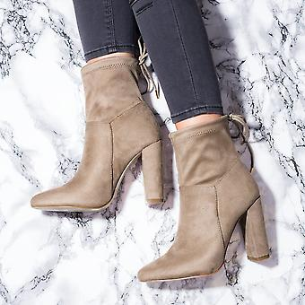 Spylovebuy FERN Lace Up Block Heel Ankle Boots Shoes - Brown Suede Style
